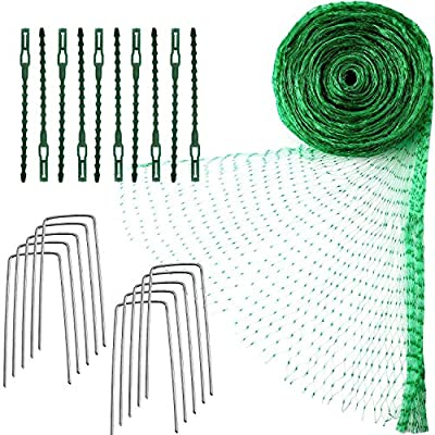 4 M x 10 M Anti Bird Protection Net Garden Plant Mesh Netting Fruit Trees Netting with Cable Ties and U-Shaped Garden Pegs (Green)