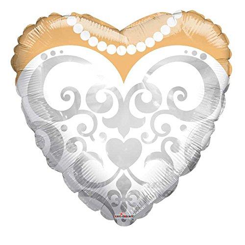 Bargain Balloons Mylar hartvorm met bruidsjurk, wit, Ø 45 cm, 15479-18