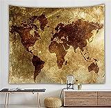 NOADREAM Mapa del Mundo Vintage Tapiz Colgante De Pared Mapa Mundo,decoración De La Pared De Fondo...