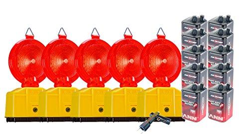 UvV-Shop Vollsperrung Set 5 rote Baustellenleuchten, LED, Warnleuchte rot- mit Secura-Halter, inkl. 10 x 6 Volt Batterien und 1 x Lampenschlüssel