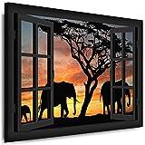 Lavabo Sobre Marco–Ventana Vista Elefantes–Fotos leinwand24/aa0212