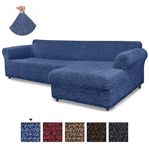 Sectional Sofa Cover - Sectional Couch Covers - L Couch Cover - Cotton Fabric Slipcovers - 1-piece Form Fit Stretch Furniture Slipcover - Mille Righe Collection - Blue (Right Chase)