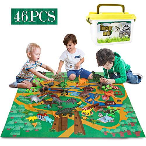 Dreamon Juego de Dinosaurios Figura de Dinosaurio una árbol Estera Caja Educativo Realista Juego para Chicos Fiestas de cumpleaños Infantiles