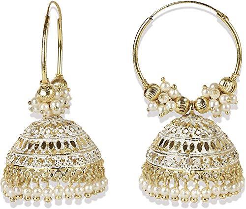 Indische Bollywood-Ohrringe, traditionelle Mode, Perlen, vergoldet, Boho-Stil, Jhumka-Creolen, Weiß