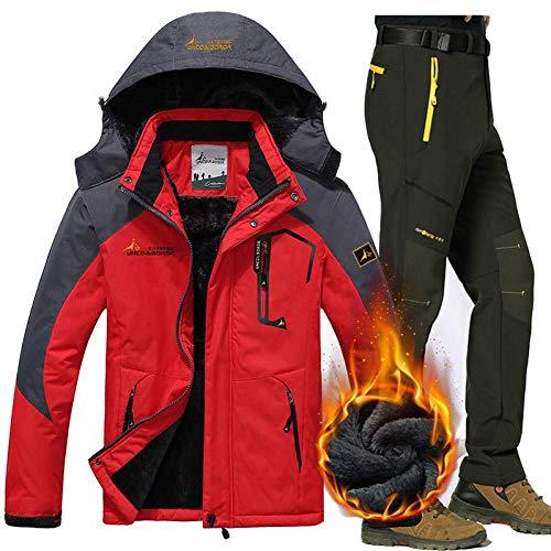 BCOGG Hiver Ski Veste Costumes Hommes Veste Polaire Imperméable en Molleton Manteau Thermique en Plein Air Ski De Montagne Veste De Planche De Snowboard Pantalon Costumes L-5Xl XXX-Large Rouge Armée
