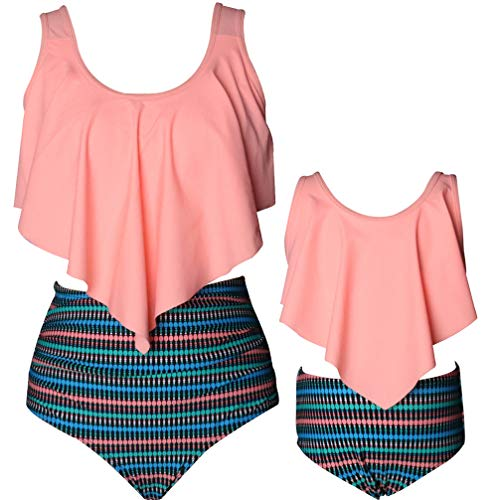 Swimsuit for Women Two Pieces Bathing Suits Top Ruffled Racerback with High Waisted Bottom Tankini Set (Mom Small, E-Orange)