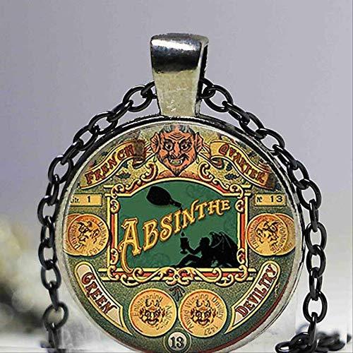 FOR TMT Collar De Halloween Diablo Verde Absenta Steampunk Cabochon Glass Art...
