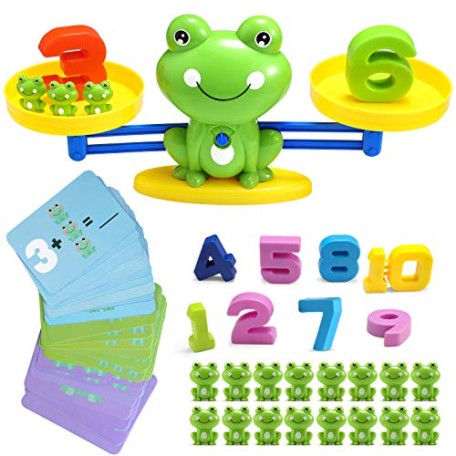 BBPOOL Frog Balance Cool Counting Math Game Educational Early Learning Scale STEM Toys Gifts for Preschool Toddlers Kids Age 3 4 5 6