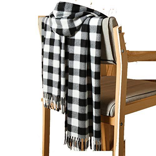 Bufanda de cachemir de imitación a cuadros en blanco y negro bufanda para hombre actividades regalos regalos barba larga bufanda de color sólido de tamaño pequeño-En blanco y negro
