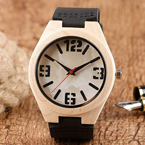 LCDIEB Moda Marca Superior Mujer Reloj de Pulsera Hombre mármol patrón Cara Naturaleza Madera bambú Negro Correa de Cuero