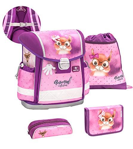 Belmil ergonomischer Schulranzen Set 4-teilig mit Brustgurt/Mädchen 1. klasse 2. klasse 3. klasse - Super Leicht 860-950 g/Eichhörnchen, Squirrel/Lila (403-13/S/C Sweet Squirrel)