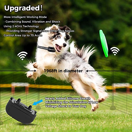 WIEZ Wireless Dog Fence Electric & Training Collar 2-in-1, Dual Antenna, Adjustable Range 100-990 ft, Adjustable Warning Strength, Rechargeable,Pet Containment System,Harmless (1 Collar +10 Flags)