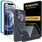 [5 Pezzi] UniqueMe Pellicola Protettiva compatibile con iPhone 12 Pro 6.1 Pollici,[2 Pezzi] Vetro Temperato Pellicola e [1 Pezzi] Back Pellicola e [2 Pezzi] Pellicola Fotocamera