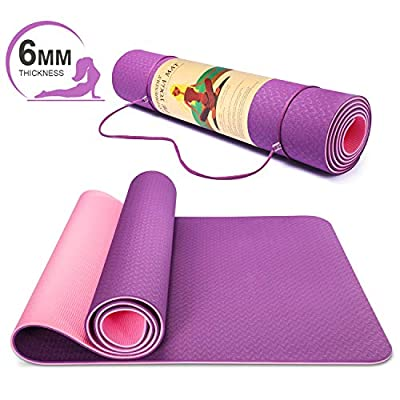 "Smartor 6mm Extra Thick Yoga Mat for Women, Non-Slip Exercise & Fitness Mat with Carrying Strap, High Density Workout Mat for Yoga, Pilates & Floor Exercises, 72"" x 24"" x 1/4"", Purple"