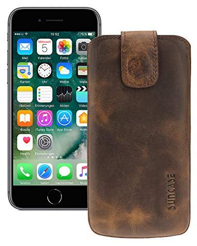 Suncase Etui Tasche kompatibel mit Apple iPhone SE 2 (2020) mit ZUSÄTZLICHER Hülle/Schale/Bumper/Silikon *Lasche mit Rückzugfunktion* Handytasche Ledertasche Schutzhülle Case in antik-Coffee