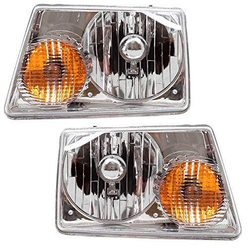 Brock Headlights Compatible with 2001-2011 Ranger Pickup Truck Replacement Driver and Passenger Headlamps 6L5Z13008BA 6L5Z13008AA