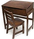 Lipper International Child's Slanted Top Desk & Chair, Walnut Finish