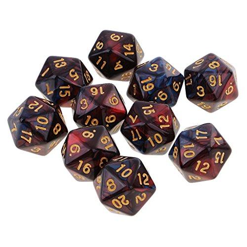 Baoblaze Set de 10pcs Dados de 20 Caras Juego de Mesa para Partido - Rojo Azul