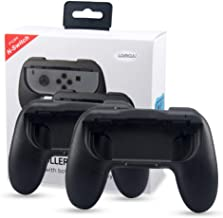 Lammcou Mandos para Switch Empuñaduras Controlador de Joy-con para Mario Kart,Super Mario Odyssey, Just Dance 2019, Fifa 19 Handle Kits para Juegos NS Switch Pokemon (Negro) 2-pack, Black