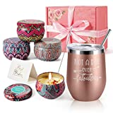 Birthday Gifts for Women - Insulated Wine Tumbler Rose Gold and Candles 4 Pack Gift Bath Set Gifts for Women - Stainless Steel Wine Tumbler with Lid - Best Relaxing Spa Gift Box Basket Present