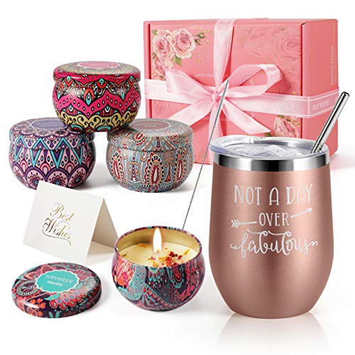 Birthday Gifts for Women - Insulated Wine Tumbler and Candles Gift Set 4 Pack Gifts for Mom - Stainless Steel Wine Tumbler with Lid (Rose Gold)