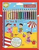 matita colorata triangolare - stabilo trio thick - astuccio da 18 - colori assortiti