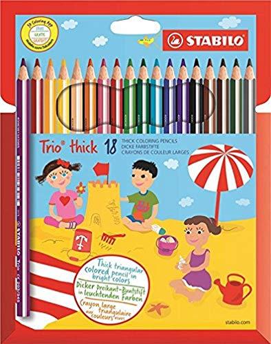 Dreikant-Buntstift - STABILO Trio dick - 18er Pack - mit 18 verschiedenen Farben