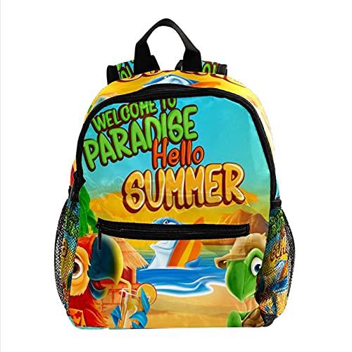 XiangHeFu Mochila de viaje para niñas Boy School Daypack Outdoor Walk Bag Hola verano bienvenido al paraíso Mochila estampada