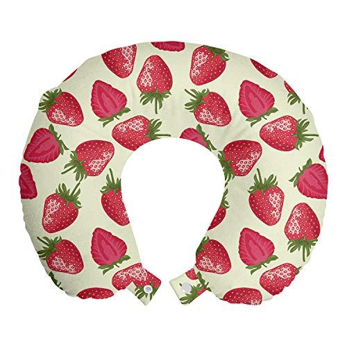 ABAKUHAUS fruit Reiskussen, Aardbeien Vivid Eten, Reisaccessoire met Geheugenschuim voor Vliegtuig en Auto, 30 cm x 30 cm, Eierschaal Red Olive Green
