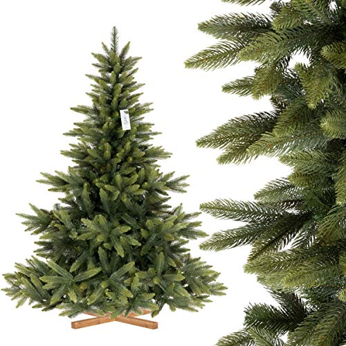 FairyTrees Artificiale Albero di Natale Abete NORDMANN Premium, Mix di Materiali tra pressofuso e PVC, Supporto in Legno, FT24-180