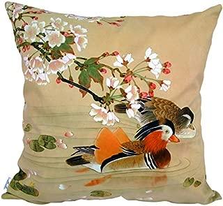 whooplaArt Decorative Velvet Pillow Cushion Cover Mandarin Ducks Pillow Artwork Printed Double Sides (18