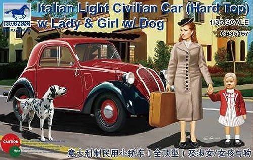 BNC35167 1 35 Bronco Italian Light Civilian Car (Hard Top) with Lady & Girl w Dog MODEL KIT by Bronco