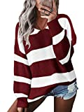 YOINS Pullover Damen Streifen Sweatshirt Oberteile Strickpullover Farbblock Sweater V-Ausschnitt Jumper Langarmshirts Tops Hemd Shirt Rot M