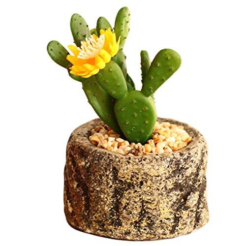 Lorigun Adornos de Plantas Falsas de Cactus Artificial Mini Muebles de Escritorio de Cactus de Flor Amarilla en Maceta pequeña