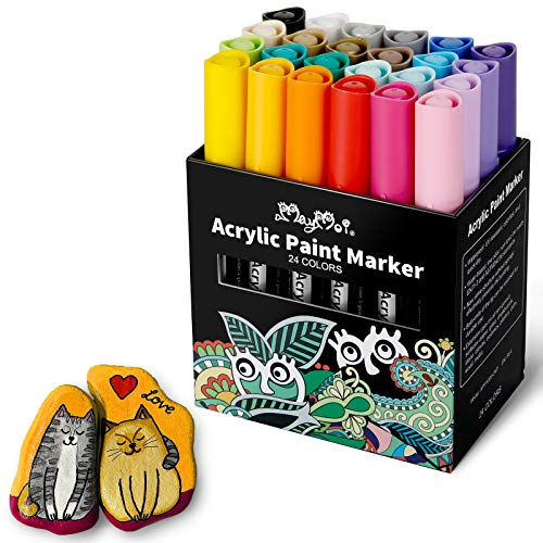 MayMoi Acrylic Paint Markers Pens for Rock Painting, Stone, Ceramic, Glass, Wood, Fabric, Canvas - Premium Waterproof, Quick-dry & Medium Tip Paint Pens (24 Colors)