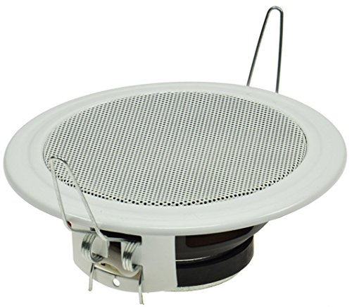 Plafond- en wandinbouwluidspreker CTE-W wit metalen beschermingsrooster beugelklemmen 8 Ohm eenvoudige montage Ø 106mm, 45 Watt wit