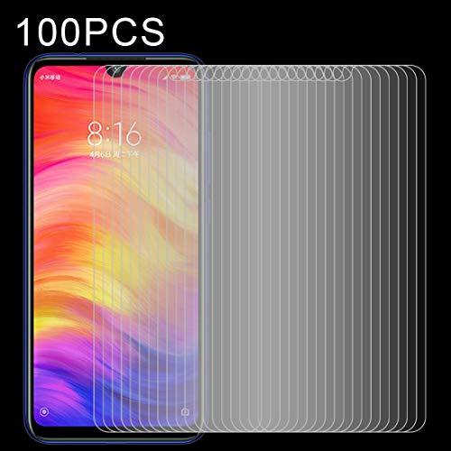 YANSHANG Película Protectora de Pantalla de Vidrio 100 PCS 0.26mm 9H 2.5D película de Vidrio Templado para Xiaomi Redmi Note 7 Vidrio Templado