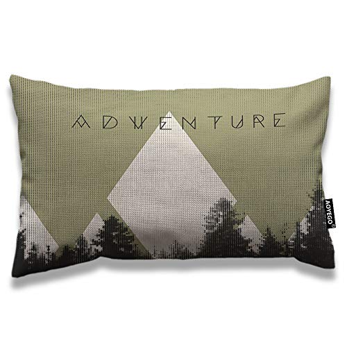 AOYEGO Mountains Throw Pillow Cover 12x20 Inch Adventure Forest with Halftone Effect Hipster Typography Camping Rectangle Pillow Cases Home Decorative Cotton Linen Cushion Cover for Bed Sofa