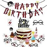 xingqiwu Artículos de Fiesta para Harry Potter: Pancarta de Feliz cumpleaños Primeros para Cupcakes inspirados en Harry Potter, Gafas de Mago y Tatuajes (Juego de 29)