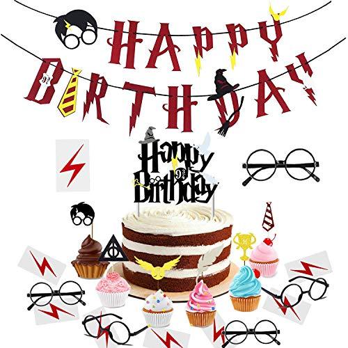 Fournitures de fête d'anniversaire de Wizard, bannière de joyeux anniversaire inspirée de Cupcake Toppers, lunettes et tatouages de Wizard, décorations pour fêtes à thème HP. (ensemble de 29)