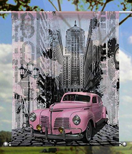 gardinen-for-life Scheibenhänger Pink Car rechteckig mit Beschwerung, Toller Scheibenhänger aus Feiner Voile, Verschiedenen Größen (HxB 75x60cm)