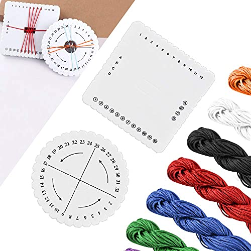 AFASOES 2 Pcs Disco Kumihimo Redondo y Cuadrado + Cuerda Trenzada 1mm, Disco Macrame Trenzado Cuerda de Poliester para Tejer para Abalorios para Hacer Pulseras y Joyas