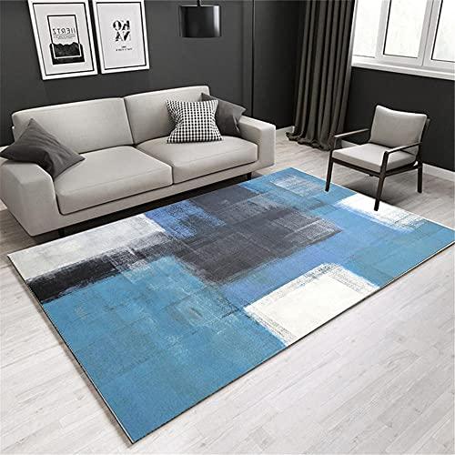La alfombras alfombras Pelo Corto Antideslizante Alfombra de diseño de Tinta Azul Negra Fácil de Limpiar Rugs for Living Room Alfombra baño 80*150CM