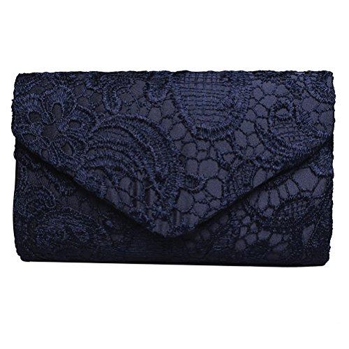 Sumaju Damen Clutch, Blau Spitze Clutch Abendtasche Umschlagtacshe für Hochzeit Partys