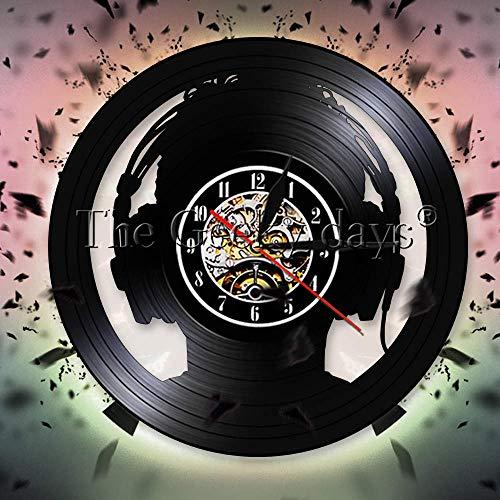 Reise Nachtlicht Uhr o Slave Kopfhörer DJ dekorative Wanduhr Musikliebhaber Schallplatte Wanduhr diejenigen die ohne Musik nicht leben können beste Geschenk Vespa Tischlampe