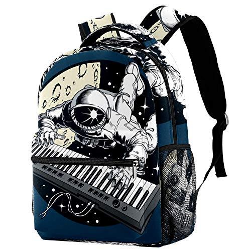 Rucksack Astronauta, tocar EL Piano Daypack Freizeit Schulrucksack wasserdicht Schulranzen Für Mädchen Jungen & Kinder Damen Herren 29.4x20x40cm