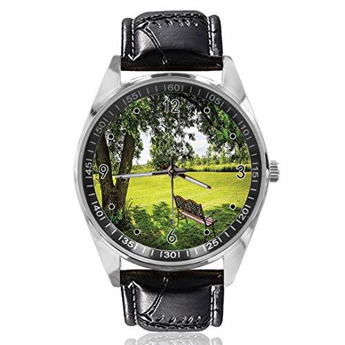 Reloj analógico de Cuarzo con diseño de Banco de Madera, Esfera Plateada, Correa de Piel clásica, para Hombre y Mujer