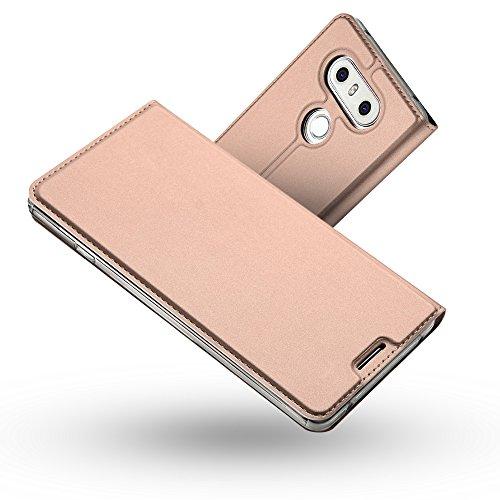 Radoo LG G6 Lederhülle, Premium PU Leder Handyhülle Brieftasche-Stil Magnetisch Folio Flip Klapphülle Etui Brieftasche Hülle [Karte Halterung] Schutzhülle Tasche Case Cover für LG G6 (Rose Gold)