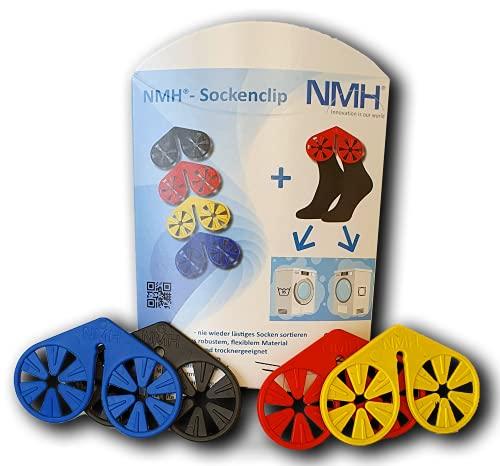 NMH®- Sockenclip - 1 Verpackung (20 STK.), Sockenklammer, Sockensortierer für Waschmaschine, Trockner und zum Aufhängen, Farben gemischt (schwarz, rot, blau, gelb)