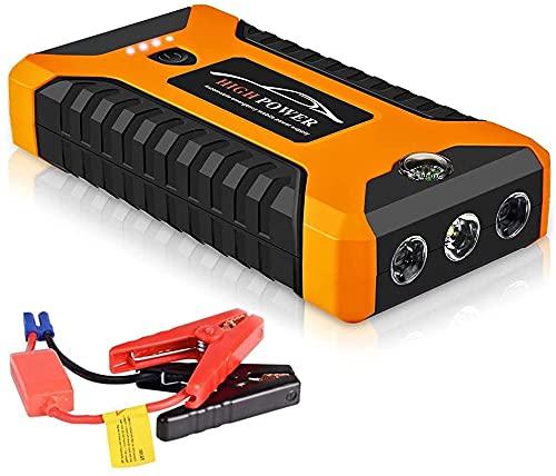 CFDZCP arrancador de Coches Car Jump Starter Portátil 600A Peak Car Jump Starter Banco De Energía Paquete De Refuerzo De Batería De Emergencia con 4 Salidas De Carga USB, Linterna LED Y Brújula
